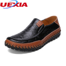 Weave PU Full Grain Leather Lazy Loafers Breathable Casual Sport Flats Handmade Men Shoes Slip-On Manual Sewing Botines Hombre(China)