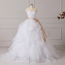 ADLN Ruffled Organza Corset Wedding Dresses Vestido De Noiva Sweetheart Sleeveless Ruched Bridal Gowns Floor length