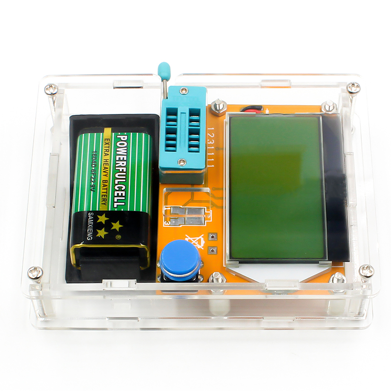 16 Latest LCR-T4 ESR Meter Transistor Tester Diode Triode Capacitance Mos Mega328 Transistor Tester + CASE (not Battery ) 7