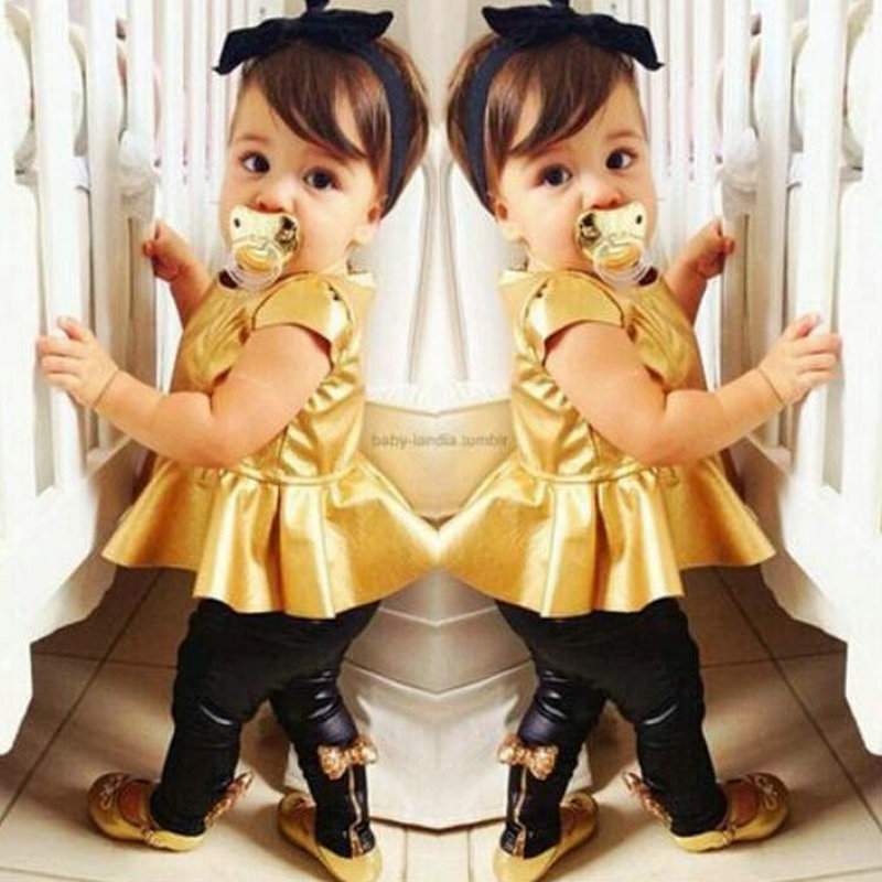 European Fashion Gold Black Shirt + Bow Pants Baby Girls Clothing Suits Draped dress Kids T Shirts Slim Gouden Legging Kids<br><br>Aliexpress