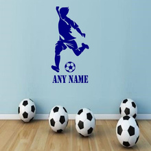 New Personalised Football Player Vinyl Wall Sticker custom Any Name Art Decal Custom Gift boys bedroom decoration 60*30cm