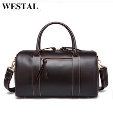 WESTAL Travel Men Bags Genuine Leather Men Travel Bag Leather Luggage Tote Mens Bag Luggage Multi-function Travel Duffle Bags