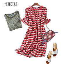 Brief Jumping Wave Point Pop Print Ruffles Flare Sleeve Wood Ears O Neck Chiffon Beach Dress Summer Women Dresses Fashion 2017(China)