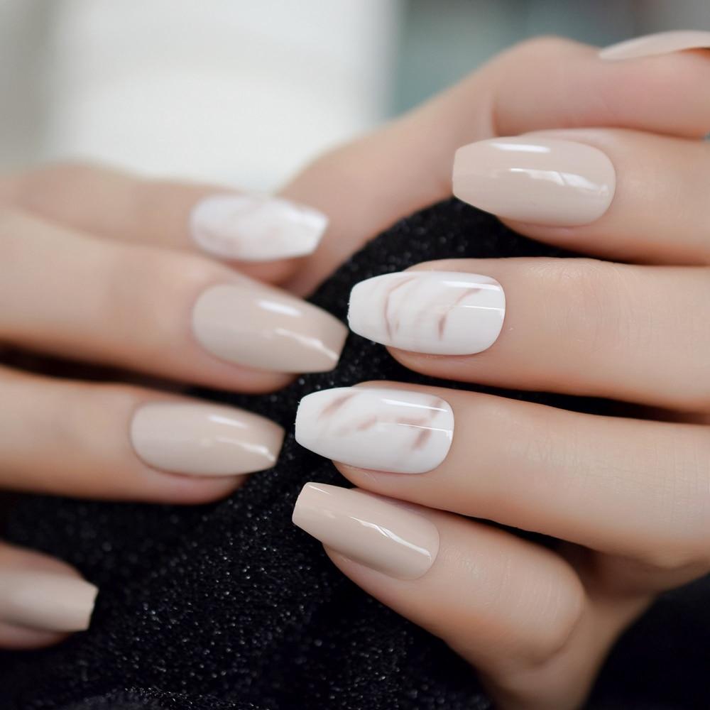 Nude Ballerina Fake Nails Marble White Natural Tips Medium Size Coffin  Shape False Ballet Fingernails