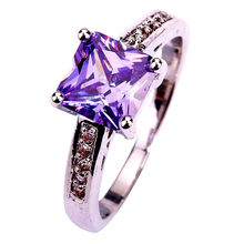lingmei Free Shipping Wholesale Lady Princess Cut Tourmaline & White CZ Silver Color Ring Size 7 8 9 10 Noble European Jewelry