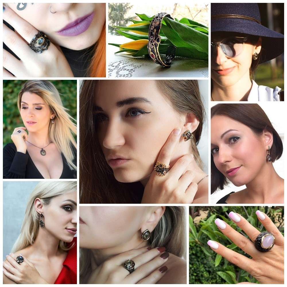 DreamCarnival 1989 New Fashion Gothic Vintage Black Gold Color Hollow Design Women Day Wear Cocktail Ring Anel Masculino WA11428