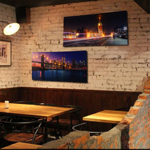 American Night View Canvas Bar Cafe KTV Wall Decoration Painting Shop Sofa Background LED Lights Wall Painting(China)