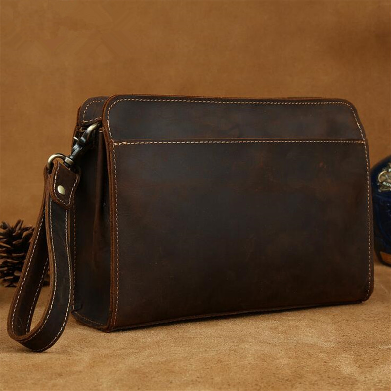 2016 new European and American retro casual fashion Pochettes hand-tailored mens leather man bag large capacity clutch<br><br>Aliexpress