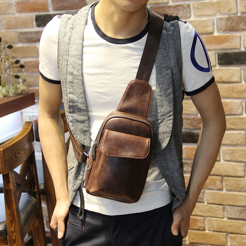 New fashion design vintage chest pack Men mini messenger bags Shoulder Cross Body bags small chest Bags casual travel<br>