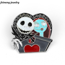 Nightmare Before Christmas Skull Mark Fashion Pin Brooch Gifts For Men And Women Of Character Movie Jewelry Halloween gifts(China)