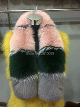 J0062 Fashion Women's Combine Colorful Real Genuine Fox Fur Neck Warmer Customized Colors Fur Scarf