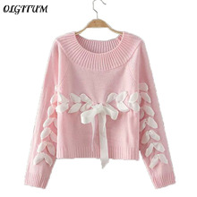 OLGITUM 2017 Fashion new ladies sweater solid color cute silk banded bowknot Loose sweater knitted pullover sweater for female