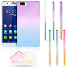 Transparent Silicone Rainbow Case For Huawei P8 Lite P9 Lite P9 Plus Silicon Soft Cover Honor 4X 5X V8 V  Mate 7 8 S Phone Cases