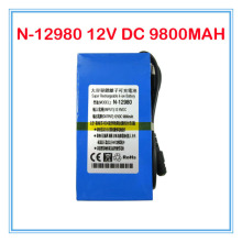 N-12980 New DC 12V Portable 9800mAh Li-ion lithium Battery for wireless transmitter CCTV camera blue 10PCS/LOT