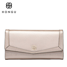 HONGU luxury Long Women Wallets Coin Pocket Multi-function Handbags Bifold Hasp Natural Genuine Leather Female Dollar Bags Girls(China)