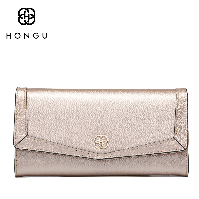 HONGU luxury Long Women Wallets Coin Pocket Multi-function Handbags Bifold Hasp Natural Genuine Leather Female Dollar Bags Girls<br>