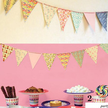 2pcs x 3M Paper 16 Artificial Flower Flag Double Print Bunting Garland Banner for Kid wedding Church Decor Background Color(China)