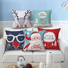 Merry Christmas Cushion Cover 11 Styles Santa Claus Christmas Tree Bear Beige Pillow Cases Kids Favor Bedroom Sofa Decoration