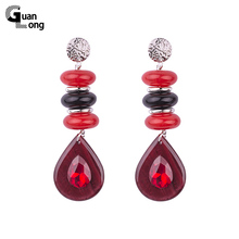 GuanLong Original Design Resin Bead Dangle Earrings For Women 2017 New Collection Earings Fashion Jewelry(China)