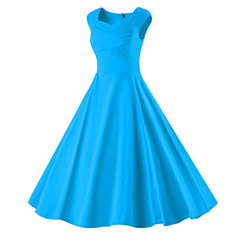 Kostlich 6 Color Retro Summer Dress Women 2017 Sleeveless Hepburn 50s Vintage Dress Elegant Big Swing Rockabilly Party Dresses (22)
