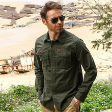 2016 Men's Shirt Long Sleeve British Style Male Casual Cotton Cargo Military style green Tactical Clothing uniform