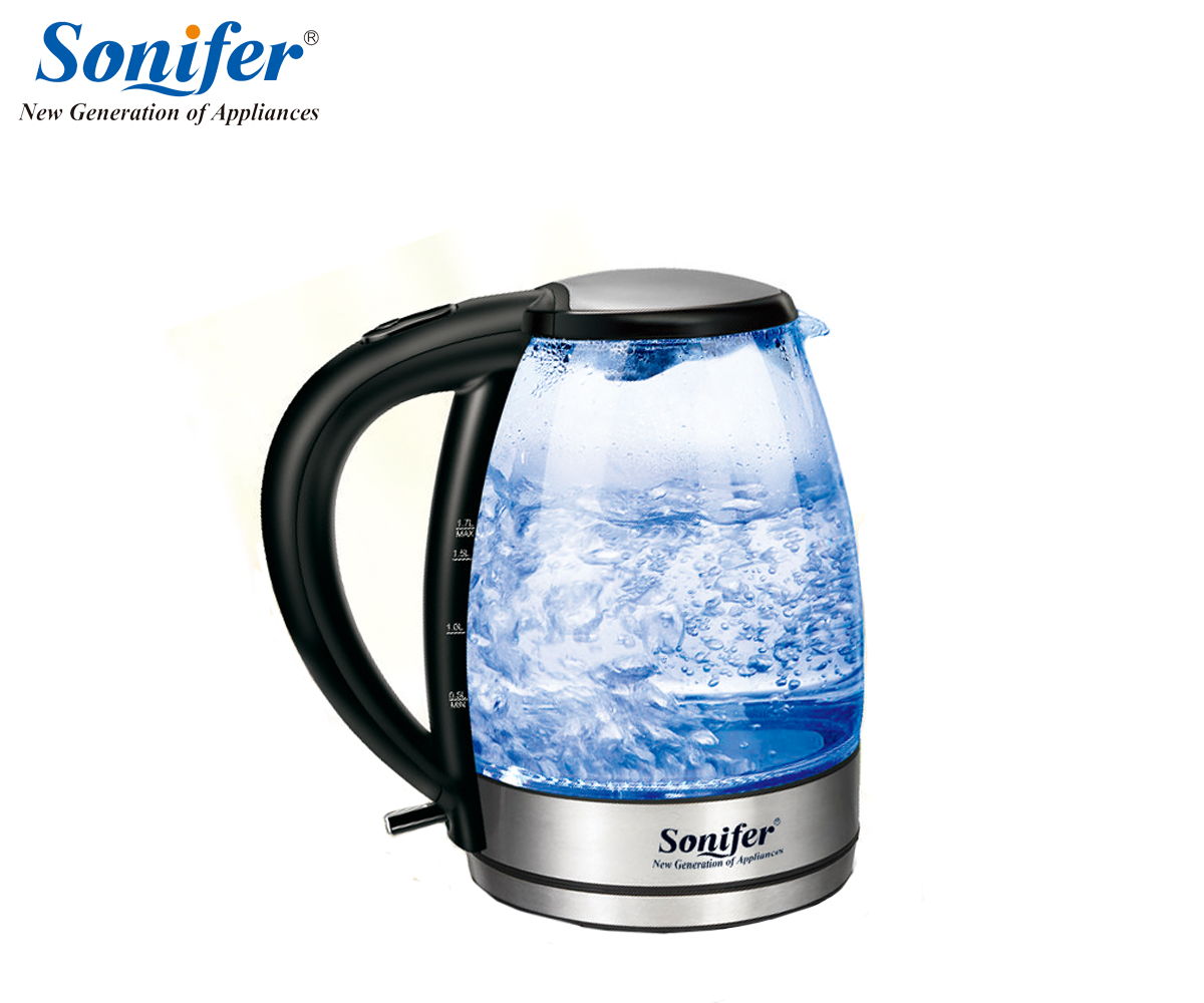1.7L Electric Kettle stainless steel Glass 2200W Household Quick Heating Electric Boiling Pot Sonifer<br>