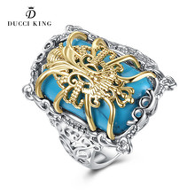 2017 High Grade Fashion White Gold Color figured Pattern Square Turquoises Vintage Rings Elegant Jewelry for Women Girls