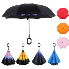 Windproof Double Layer Inverted Folding Umbrella Reverse free Hand Self Stand Umbrella Inside Out Rain Protection C-Hook Hands