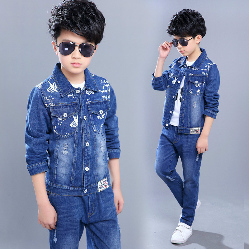 Kids Clothing Sets Boys Jeans+Pants Clothes Suits Denim Outfits Tracksuit for Boys Clothing 5 Colors Boys Sport Suits<br>