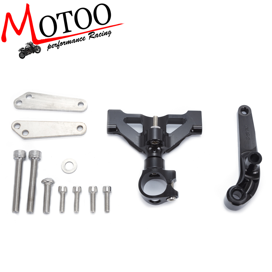 Motoo - For Kawasaki ZZR1400 ZX-14R ZX14R 2006-2015 Motorcycles Adjustable Steering Stabilize Damper Bracket Mount Support Kit<br>