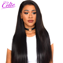Celie Hair Raw Indian Virgin Hair Weave Bundles Natural Black Color Human Hair Straight Unprocessed Hair Extensions Can Be Dyed(China)
