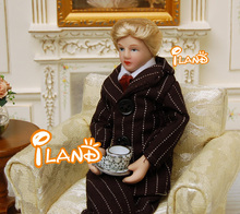 "6.7"" Porcelain doll model 1:12 dollhouse miniature Black suit  Young people"