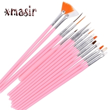 15PCS/Set Plastic Handle Nail Drawing Brushes Set Art Design Tool For Nail Art Painting Body Paint Liner Pen Kits Professional(China)