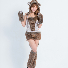 Beautiful Furry Animal Costumes Halloween Costumes for Women Women Sexy Big Bad Wolf costume Adult Animal Cosplay Costumes(China)