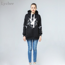 Lychee Harajuku Lolita Style Women Sweatshirt Rabbit Pentacle Print Lace Up Hoodies Casual Loose Long Sleeve Tracksuit(China)