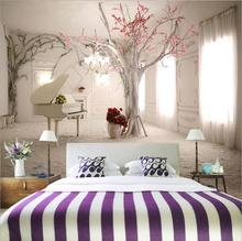 Home Decor Custom Mural 3D  Tree & Piano Wallpapers ,Modern Wall Painting Living Room Background  European  Photo Mural