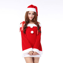 Beautiful cheap Ladies Santa Costume Women Christmas Party Fancy Two Parts Dress Cosplay Suit sexy dress vestido de festa(China)