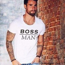 BOSS tshirts New hot summer clothes Men's fashion Tee shirts Letter print Cool pullover Cotton T shirt for men(China)