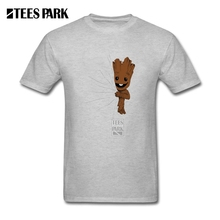 Fun Tops Men hidden groot converted T Shirt Guardians of the Galaxy O Neck Clothing Tee Natural Cotton Short Sleeve Male(China)