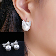 New Fashion Lovely Wedding Ear Silver Plated Round Imitation Beads Bow Pearl Stud Earrings for Women Girls Rhinestone Jewelry(China)