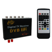 Car DVB-T2 Double Antenna H.264 MPEG4 Mobile Digital TV Box Receiver Dual Tuner DVB-T2 Double Antenna HD Car Digital TV BOX