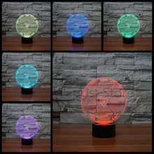 Creative 3D Football illusion Lamp LED England Soccer Sports Competition Night Light Acrylic Colorful Gradient Atmosphere Lamp