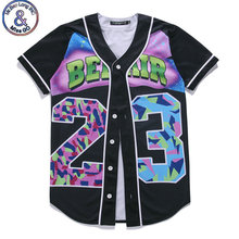Mr.BaoLong Mens Buttons Homme 3D Shirt Streetwear Tees Shirts Hip Hop Bel Air 23  Custom Made Baseball Jersey T Shirt