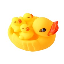 SPEELGOED 4pc/lot Bath Toys Shower Water Floating Squeaky Yellow Rubber Ducks Baby Toys Water Toys Brinquedos For Bathroom(China)