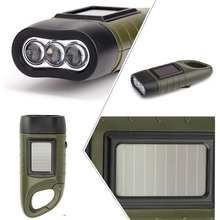 2017 Camping Flashlight Portable LED Hand Crank Solar Power Torch Flashlight Outdoor Camping Mountaineering Night Green