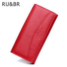 RU&BR Genuine Leather Wallet Simple Women Wallets And Purse Cowhide Women's Clutch Credit Cion Pocket Card Holder Ladies Wallets