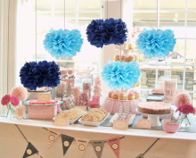 Buy 5pc Blue (Navy Blue&Sky Blue&Turquoise Blue) Tissue Paper Pom Poms Set Hanging Paper Balls Wedding Birthday Party Decorations for $3.79 in AliExpress store