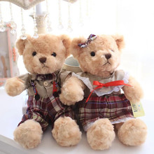 Teddy Bear in Grid Lattice Clothes Plush Toys Couple Bears Soft Stuffed Dolls Best Gift for Lovers Kids Friends 1 Pair 30cm(China)