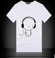 Hip Hop Camiseta Printing Music with Earphone Cotton 2017 t shirt Men Brand Famous Men t shirts Fashion Short Sleeved Tees