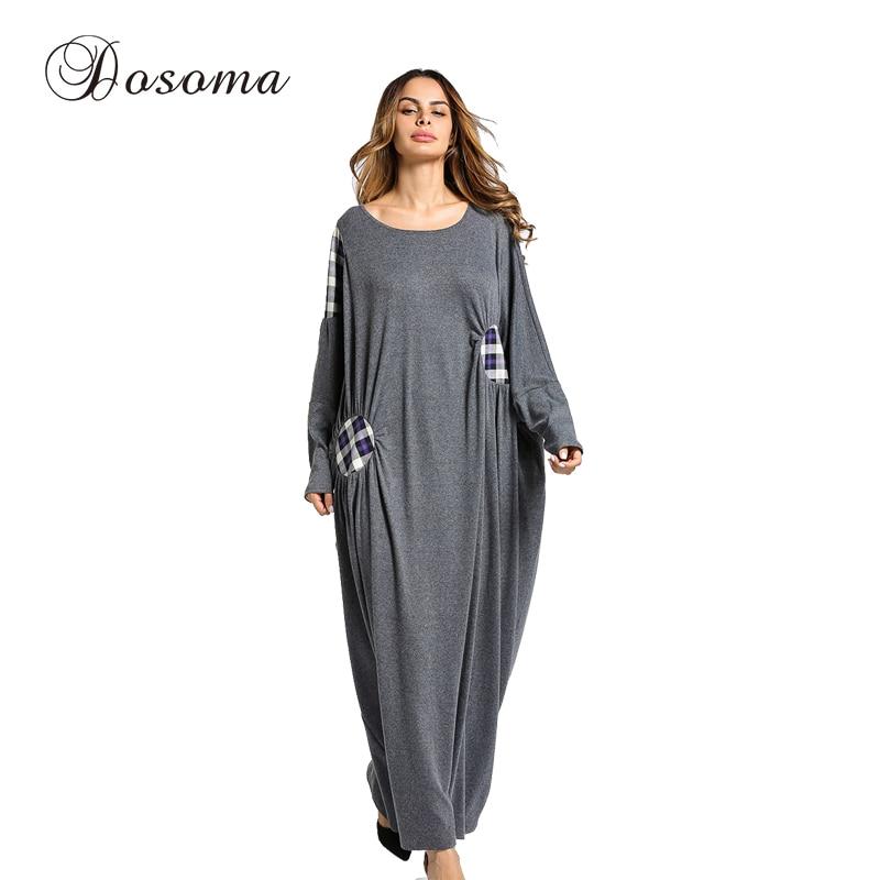 Womens Maxi Dress Winter Abaya Patch Robes Loose Style Thickening Knitted Cotton Jilbab Muslim Middle East Islamic ClothingÎäåæäà è àêñåññóàðû<br><br>